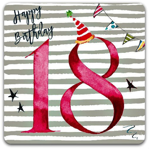 18 Happy Birthday 18 years old birthday card birthday 15cm x 15cm with envelope - Card Bubble