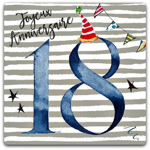 18 birthday card happy birthday 18 years 15cm x 15cm with envelope - Card Bubble