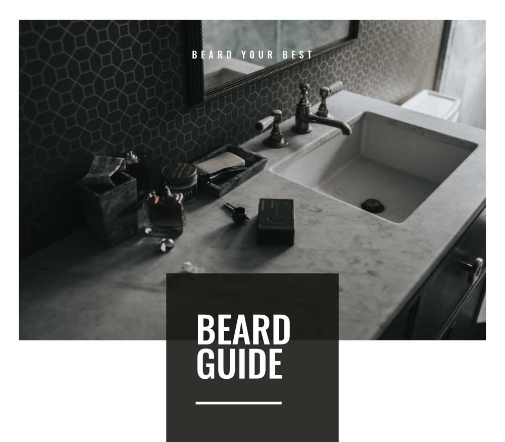 Beard Routine Guide in a black and white bathroom