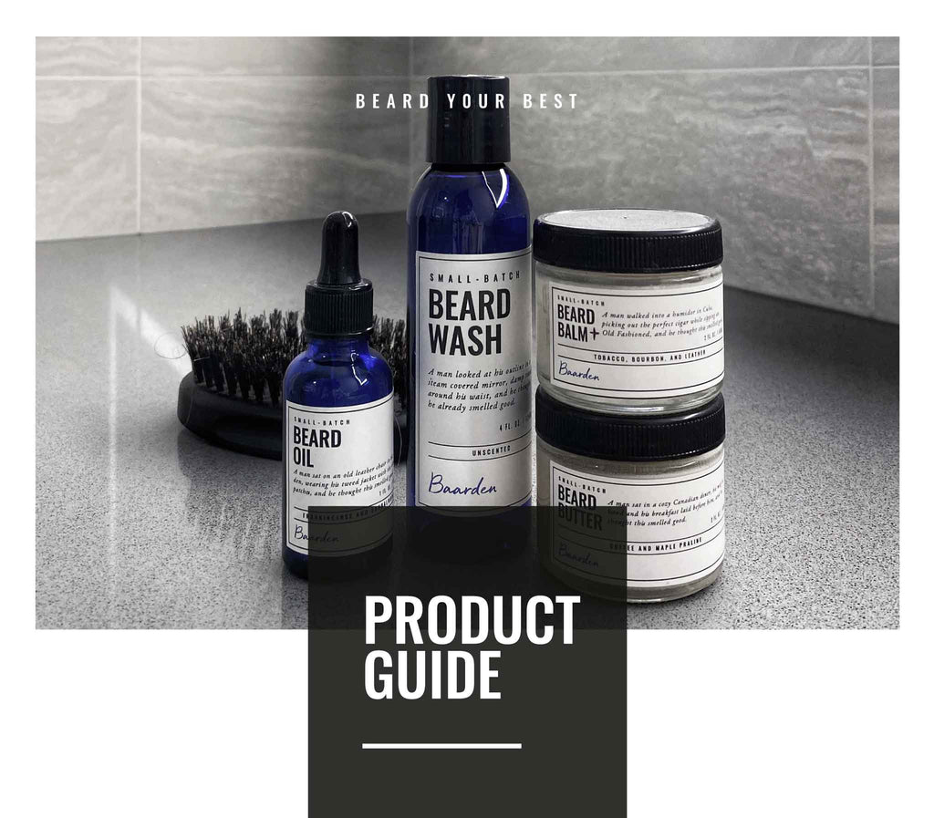 Baarden beard oil, wash, butter, balm and brush in a grey bathroom