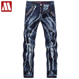 9dbf59eb60d Men s High Distressed   Ruched Denim Jeans – Urban or Edgy