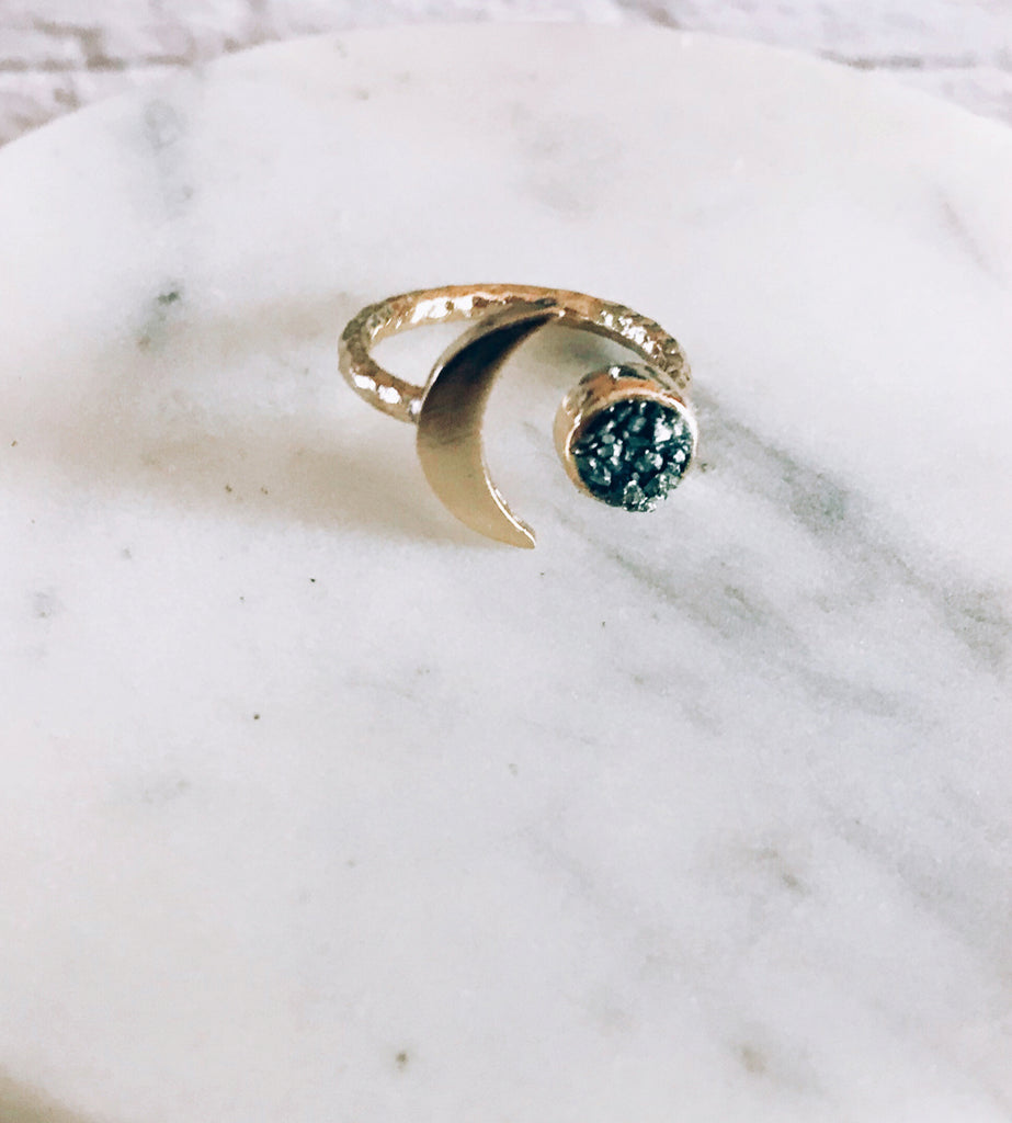 Raw Stone and Moon Ring