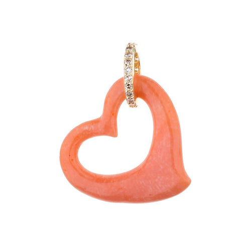 Coral Open Heart Necklace