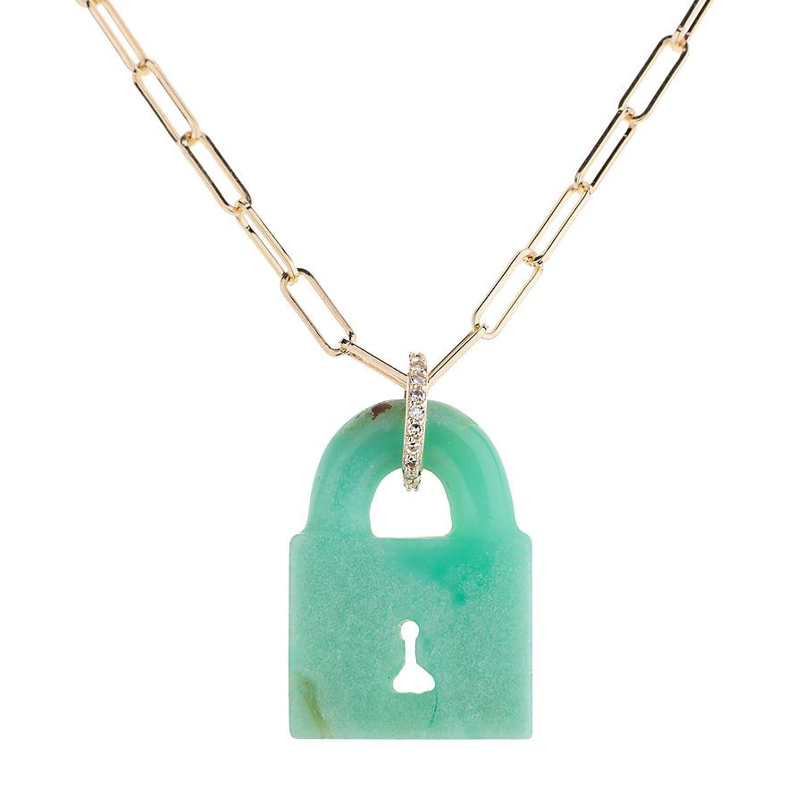 Austrailian Chrysoprase Pad Lock Necklace