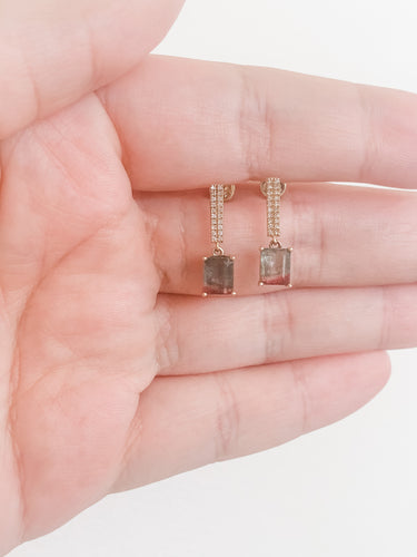 Tourmaline Diamond Candy Bar Earring