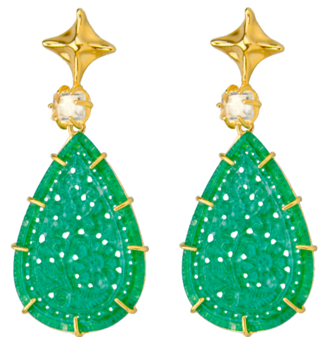 Pagoda Green Earrings