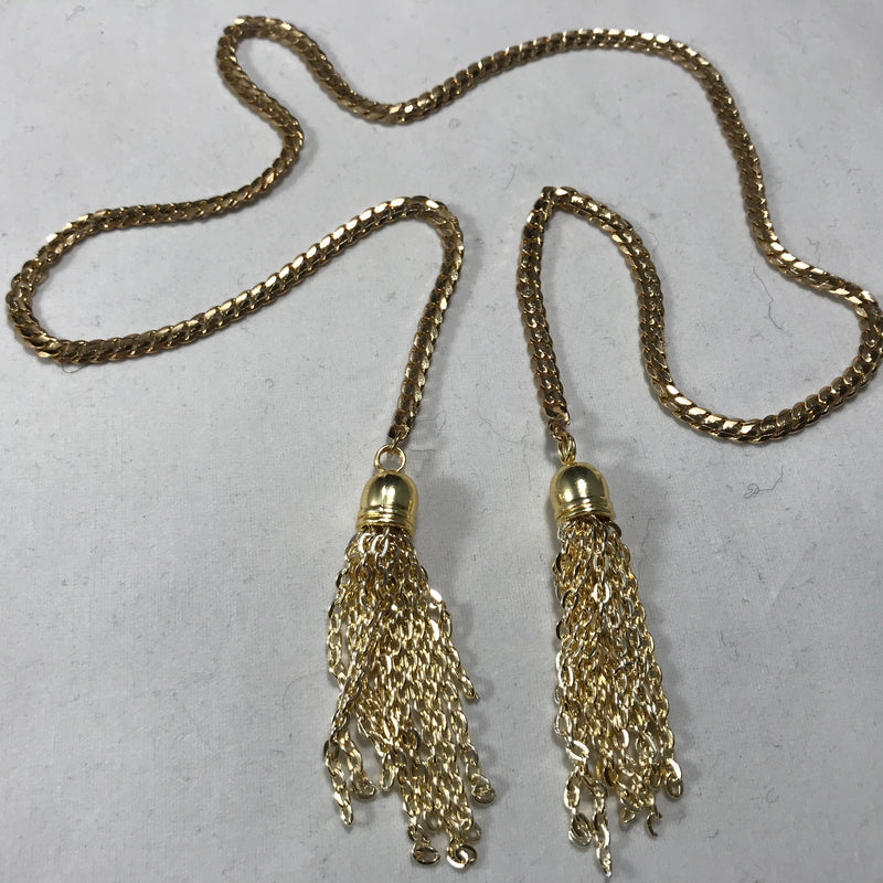 Golden Chandelier Face Chain - Necklace