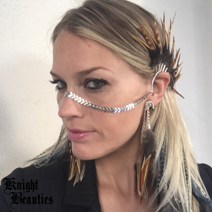 High Priestess Face Chain / Ear Cuffs : BROWN FEATHERS/SILVER