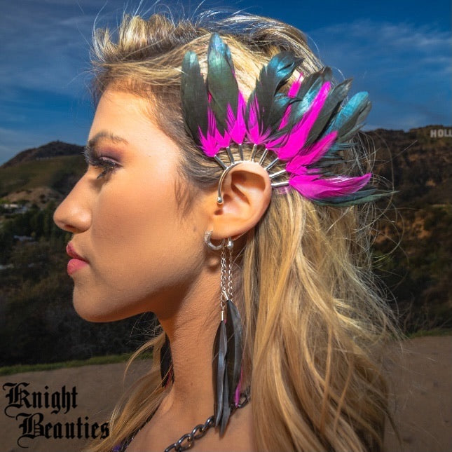 High Priestess Pink Feather Ear Cuff w/silver