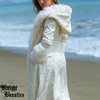 Women's Ivory Long Hooded Faux Fur Jacket