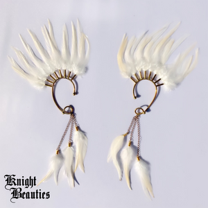 High Priestess White Feather Ear Cuff w/gold
