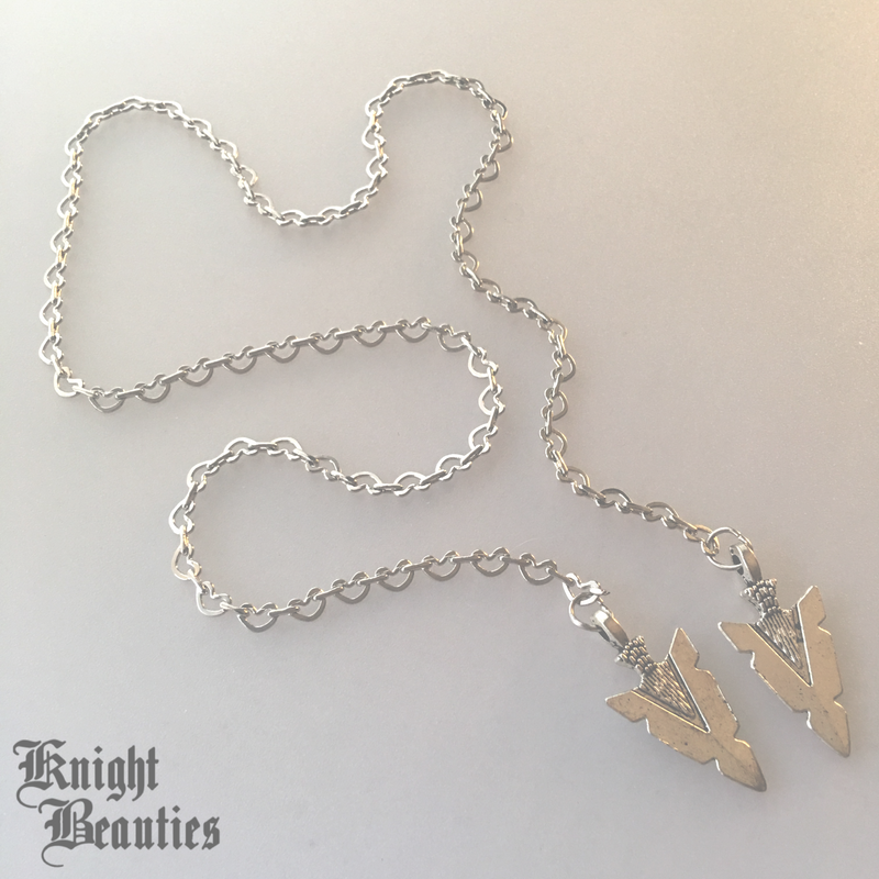 Silver Heart w/ Silver Arrows Face Chain
