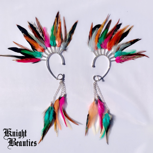 High Priestess Multi Color Feather Ear Cuff w/silver