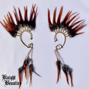 High Priestess Brown Feather Ear Cuff w/gold