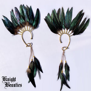 High Priestess Black Feather Ear Cuff w/gold