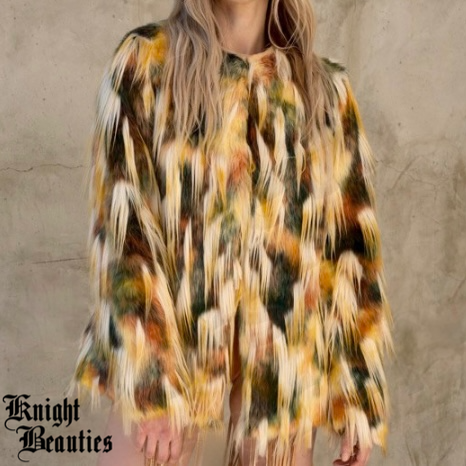Women's Shaggy Multi Colored Faux Fur Jacket - Earth Tones