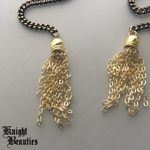 Black Zenith w/ Gold Tassels Face Chain - Necklace