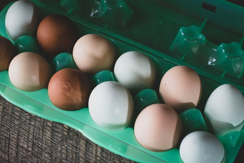 free range eggs with different shell colors in green pack