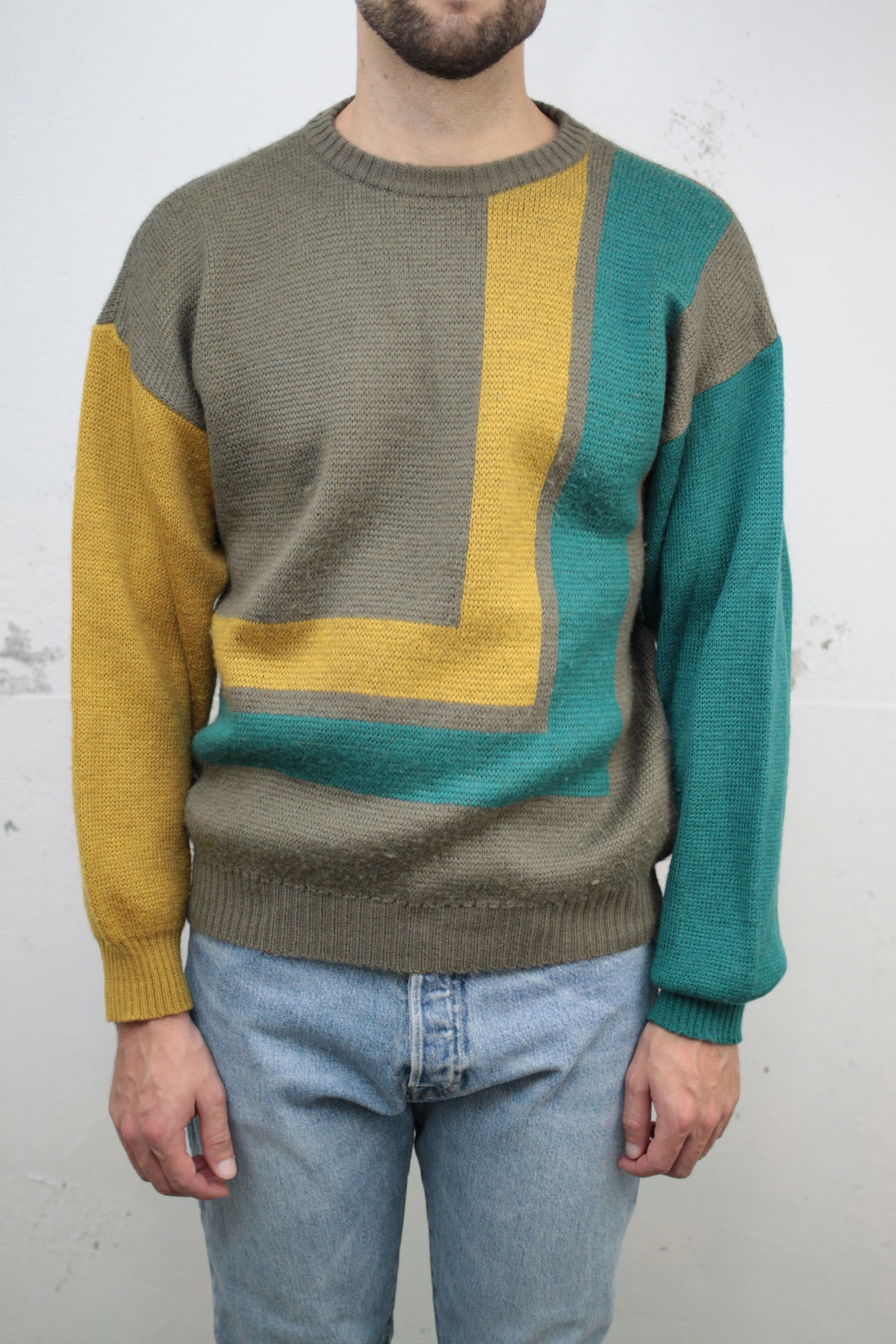 Colour-block Strickpullover (Vintage)