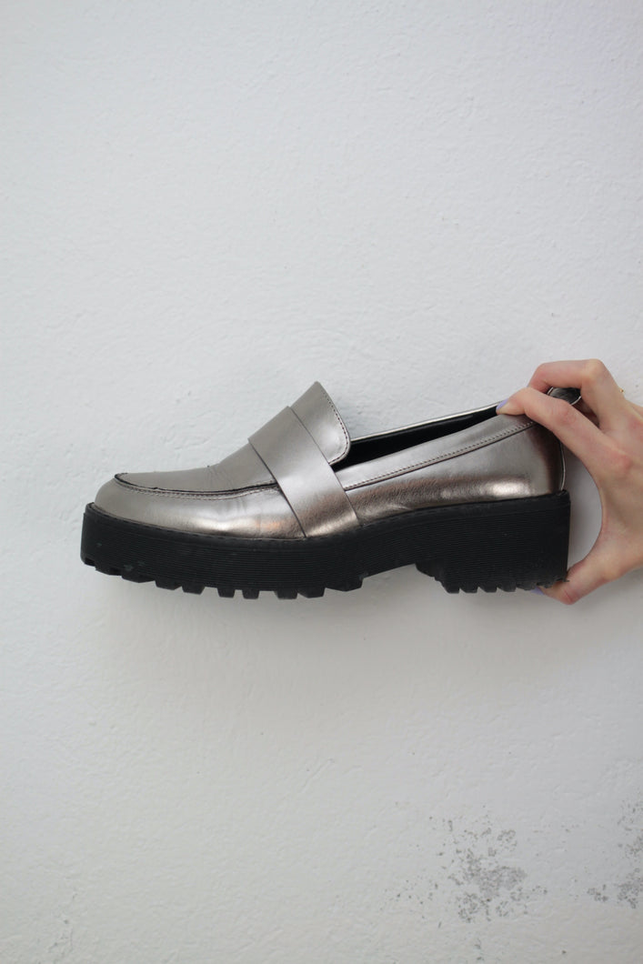 Silber Plattform Loafers