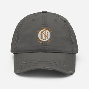 No Games Zest Distressed Dad Hat Charcoal Grey