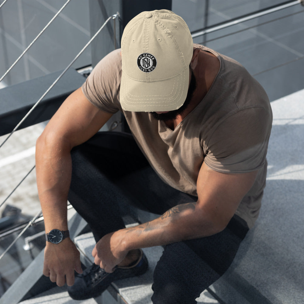 No Games Distressed Dad Hat Khaki