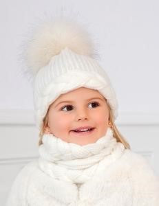 Abel & Lula 3 Piece Knitted Hat Set White