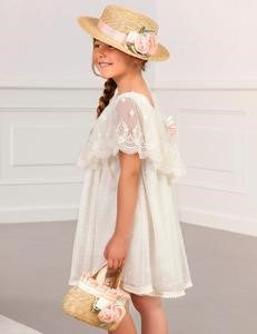 Abel & Lula Ivory Tulle and Lace Dress with Pink Flower