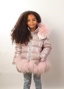Canzitex Girl Pink Calligraphic Winter Jacket with Fur