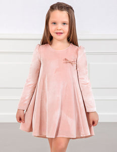 Abel & Lula Girls Velvet Dusty Pink Dress