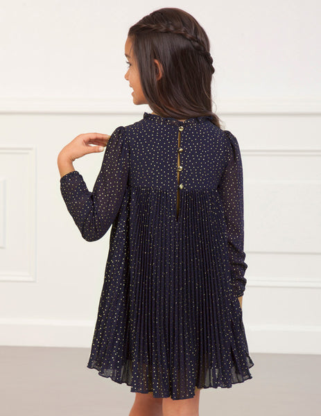 Abel & Lula Navy Chiffon Gold Polka Dot Dress