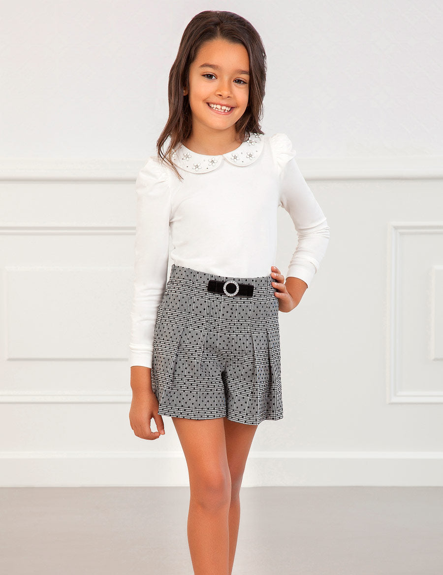 Abel & Lula Black and White Plaid Bermuda Shorts