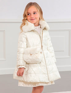 Abel & Lula White Shimmer Padded Coat
