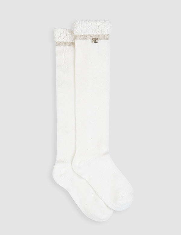 Abel & Lula Girls Long Socks Ivory