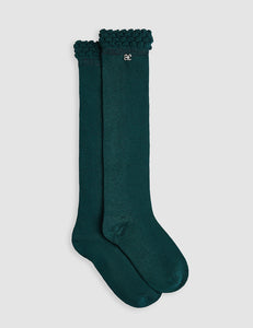 Abel & Lula Girls Long Socks Green