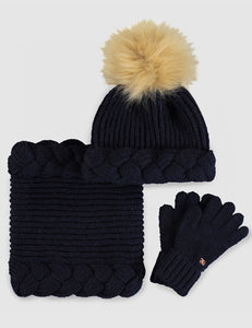 Abel & Lula 3 Piece Knitted Hat Set Navy