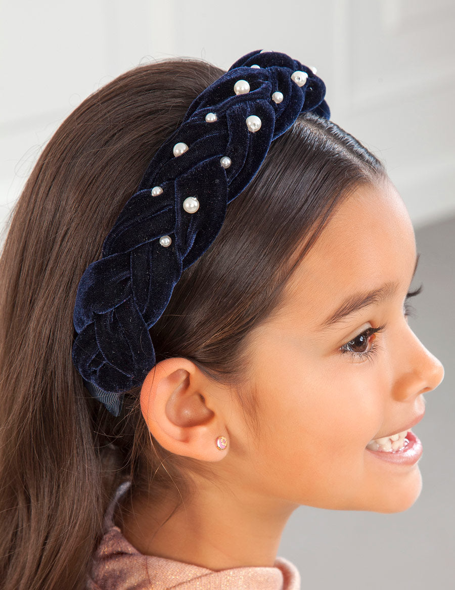 Abel & Lula Navy Braided Velour Headband with Pearls