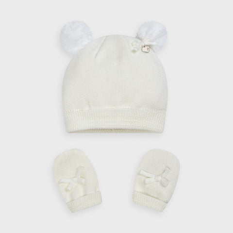 Mayoal Baby Girls Hat & Mittens Set Ivory
