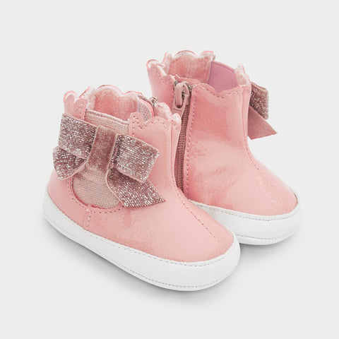 Mayoral Baby Girl Patent Leather Boots in Pink