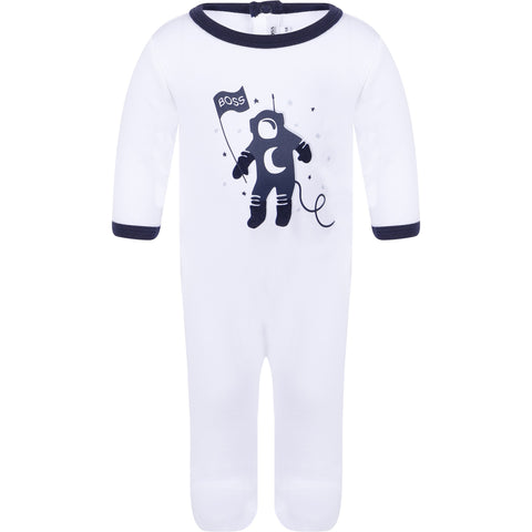 BOSS Boys White Footie with Space Graphic