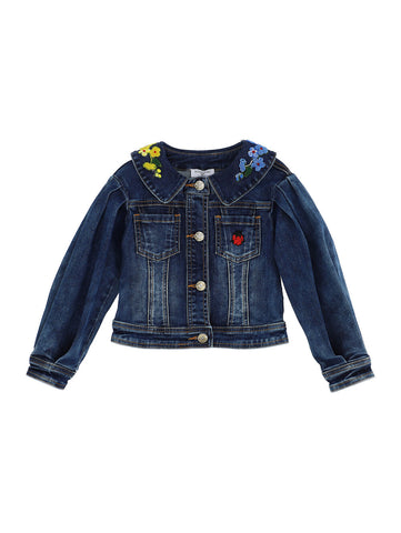 Monnalisa Cropped Denim Embroidered Jacket