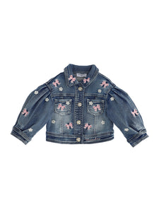 Monnalisa Blue Bow Embroidered Denim Jacket