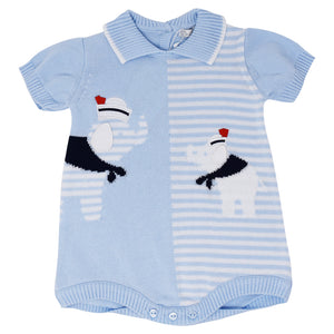 Dr. Kid Boys Blue Elephant Cotton Knit Babygrow