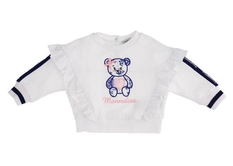 Monnalisa White Cotton Teddy Bear Top