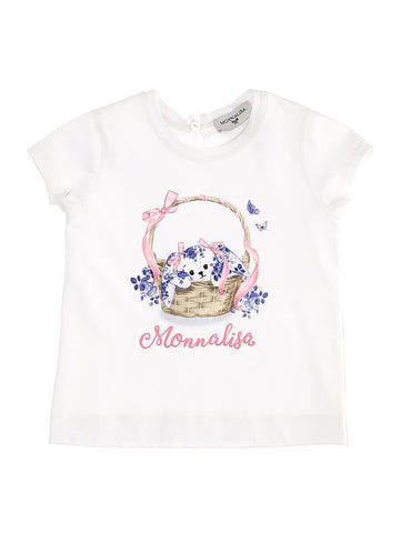 Monnalisa White Cotton Bunny T-Shirt