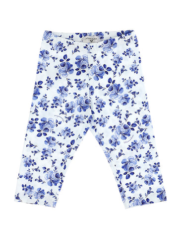 Monnalisa White & Blue Floral Cotton Jersey Leggings