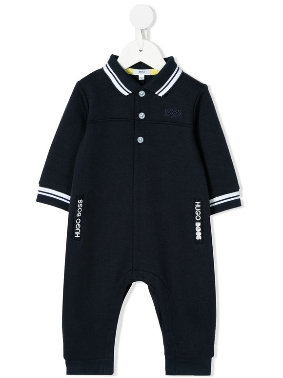 BOSS Kids Double Jersey Romper with Logo