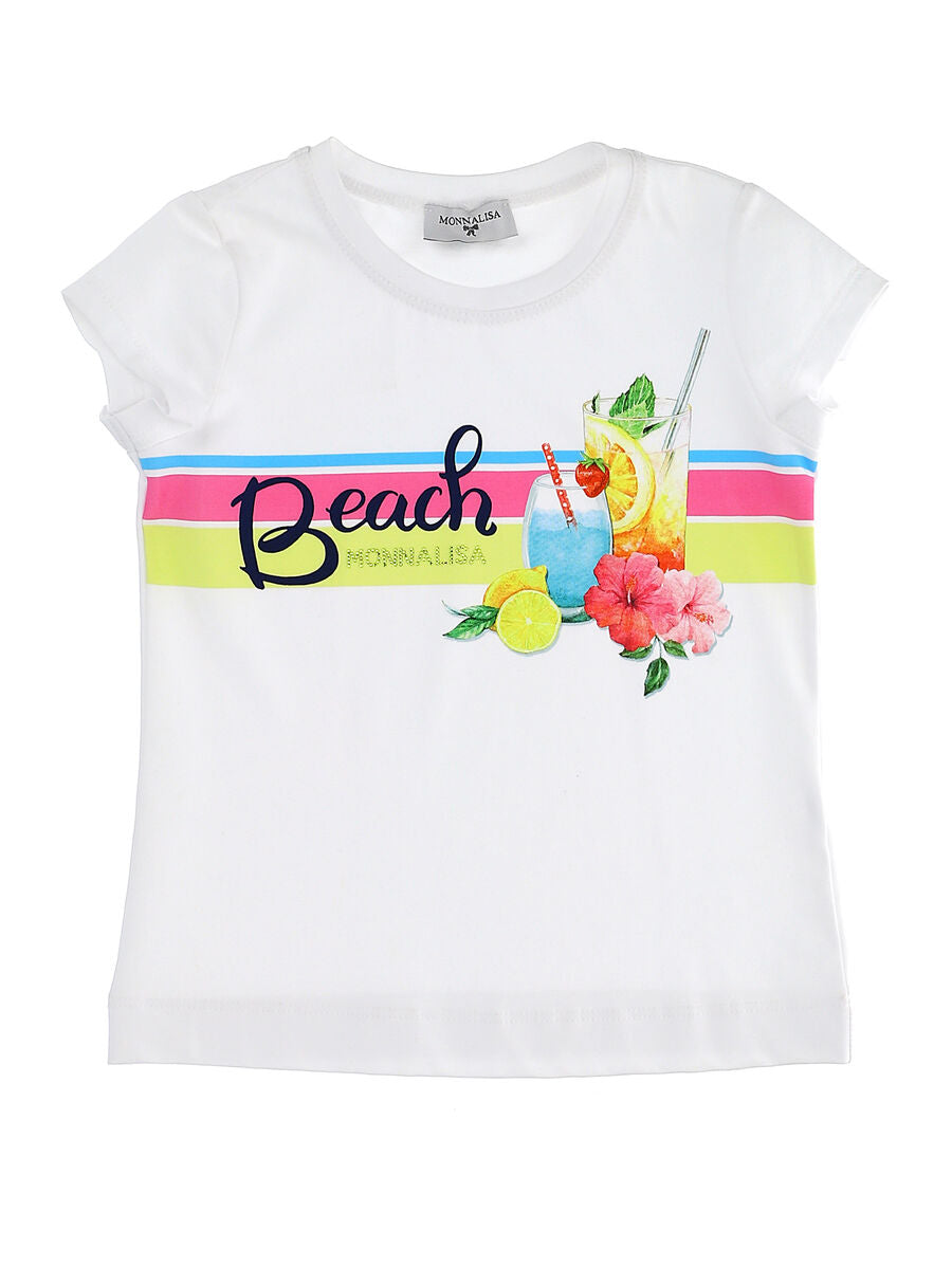 Monnalisa Beach White Cotton T-Shirt