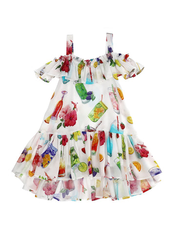 Monnalisa Fruit Cocktail Satin Dress
