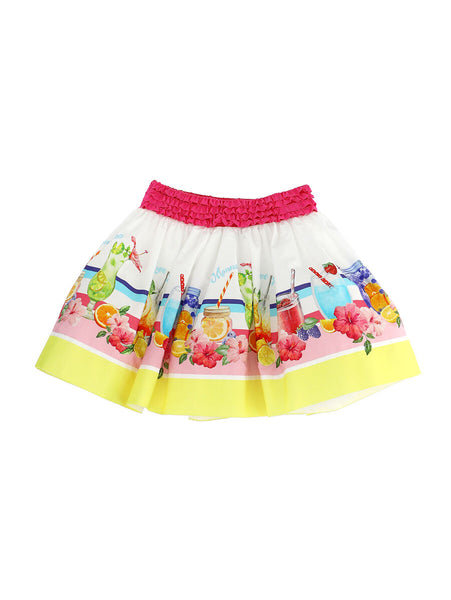 Monnalisa White Skirt with Summer Print